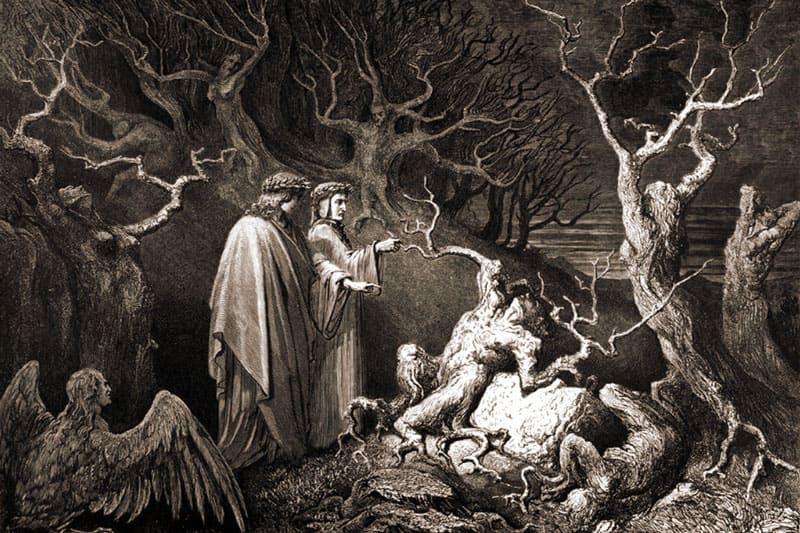 Данте в лес с гарпиями